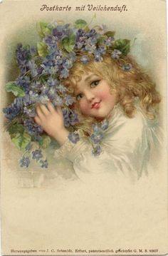 Vintage girl with violets postcard