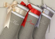 Personalized Christmas stockings burlap linen Embroidered