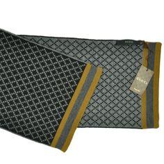 Classic gray diamond geometric design wool Gucci scarf at 40% off