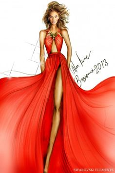 Original sketch of Beyoncé in Alon Livne Design's Swarovski embellished gown during the Mrs. Carter Show World Tour