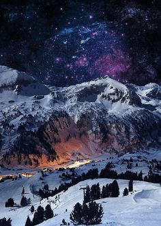 nature mountains night strarry night