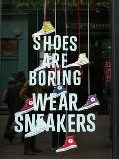 This window display of converse has a great graphic, that tells a little something about their brand story.