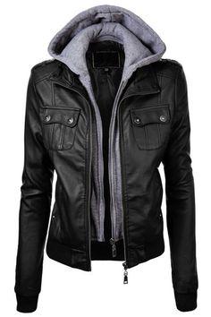 Mode Pocket capuche design en faux cuir noir veste pour femme