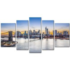 New York City Over East River Brooklyn Bridge - 5 Piece Canvas