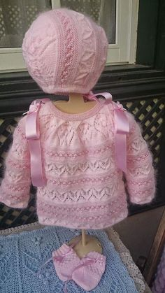 ¡En rosa y con Lacitos!: Modelo Rosa,  en rosas... (R.M) Baby Knitting Patterns, Knitting For Kids, Crochet For Kids, Baby Patterns, Knit Crochet, Baby Girl Dresses, Little Dresses, Baby Dress, Tricot Baby