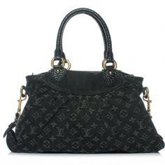 This is an authentic LOUIS VUITTON Denim Neo Cabby MM in Black.   This is bag has a relaxed but sophisticated appeal.