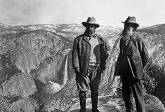 Theodore Roosevelt and John Muir at Yosemite.