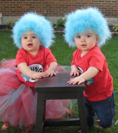 Thing 1 and Thing 2 Costumes that I made for Molly and Oliver's B-day party.