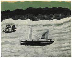 Alfred Wallis (1855-1942), STEAMER AND SAILING BOAT ALONG COAST, Oil on cardboard, 24x30cm