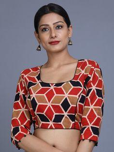 Multi Color Ajrakh Printed Cotton Blouse