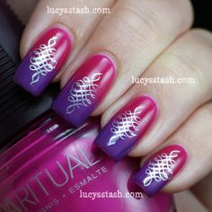 Pinned by www.SimpleNailArtTips.com STAMPING -   Lucy's Stash: Gradient and stamping nail art manicure with SpaRitual and A England