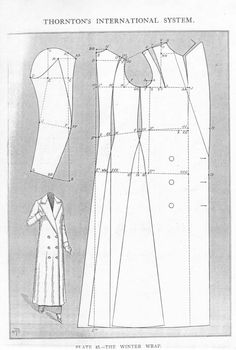 -Original- Pre 1929 Historical Pattern Collection — Ladies' Winter Wrap, mid to late with. Costume Patterns, Coat Patterns, Dress Sewing Patterns, Vintage Sewing Patterns, Clothing Patterns, Skirt Patterns, China Patterns, Blouse Patterns, Victorian Pattern