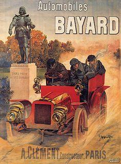 """""  Car Race Automobiles Bayard Clement Paris French Vintage Poster Repro 12""X16"" | eBay"
