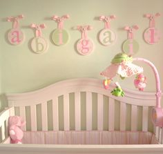 personalized baby wall plaques | My Round Nursery Hanging Wall letters Featured on Ohdeedoh Website |