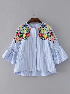 SheIn offers Bell Sleeve Flower Embroidery Top & more to fit your fashionable needs. Women's Fashion Dresses, Boho Fashion, Fashion Women, Coats For Women, Jackets For Women, Bohemian Mode, Striped Jacket, Blouse Designs, Blouses For Women