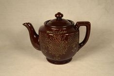 Vintage Brown Tea Pot w/ Hand Painted Design, Made in Japan on Etsy, $18.00