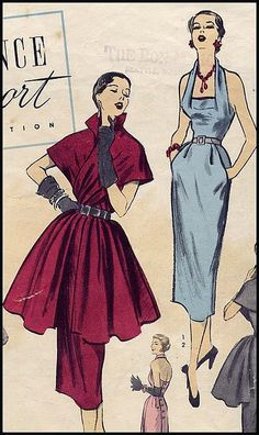 1950s Dress Pattern tiered dress long peplum overskirt halter wrap summer cocktail cape sheath wiggle red blue pink