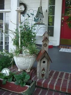 church style birdhouse with steeple cherryhillcottage.typepad.com