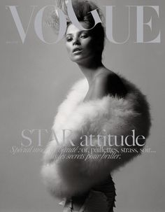 Kate Moss for Vogue Paris - issue March 2004 | Magazine Cover: Graphic Design, Typography, Photography | Photo: David Sims |