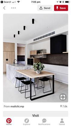 Western Australian architectural lighting designer, Unios has always believed th. Kitchen Island Table, Black Kitchen Cabinets, Custom Kitchen Cabinets, Black Kitchens, Cool Kitchens, Kitchen Islands, Island Bench, Interior Design Kitchen, Modern Interior Design
