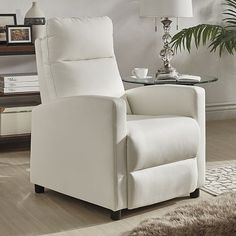 HomeVance Talocott Push Back Faux Leather Recliner Arm Chair White Find This Pin And More On Family Room