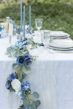 Eucalyptus Flower Runner with led Light – Dusty Blue – Wedding Centerpieces Blue Wedding Decorations, Blue Wedding Flowers, Floral Wedding, Wedding Colors, Wedding Bouquets, Blue Wedding Centerpieces, Wedding Ideas Blue, Tall Centerpiece, French Blue Wedding