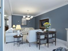 Living room colors - Choosing the living room paint colors and deciding on a living room color scheme can be a challenge. Thank you with this living room Grey And Brown Living Room, Grey Walls Living Room, Living Room Paint, Living Room Decor, Blue Walls, Blue Feature Wall Living Room, Living Rooms, Good Living Room Colors, Room Wall Colors
