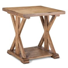 Add warmth to the room with the Wood Farmhouse End Table. The craftsman side table features x-shaped legs that add subtle detail, while the pale wood finish adds a contemporary touch. Sturdy enough to survive toddlers, but sleek enough for a cocktail party, this beautiful wooden table works with most any decor.