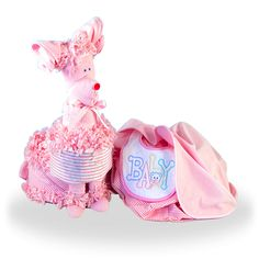 Surprise that Little Baby Girl Puppy Diaper Set #GiftBaskets4Baby #DiaperCake #BabyShower #Diaper #Cake #girls #gifts #giftbaskets #Baby #Babies For more information visit: www.GiftBaskets4Baby.com