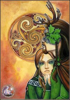 The Greenman  Cernunnos/Herne the Hunter... Green Lord and His Lady...By Artist Michele Lee Phelan...