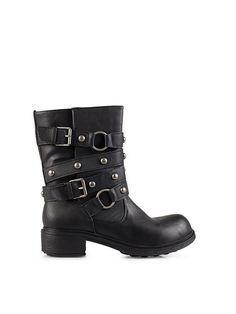 Benelli Studded Strap Biker Boot - New Look - Musta - Arkikengät - Kengät - Nainen - Nelly.com