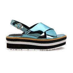 Blue Cross Strap Front Leather Look Ankle Strap Fastening Layer Platform Flat Sandal