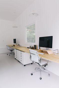 white + minimal creative workspace studio | interior design + decorating ideas