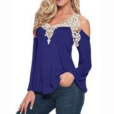 Zanzea Lace Patchwork blusa 2016 mulheres Blusas mistura de algodão Sexy fora do ombro V pescoço Shirt das senhoras de manga comprida Plus Size t Tops alishoppbrasil