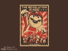 Vote Mario T-Shirt - http://teecraze.com/vote-mario-t-shirt/ -  Designed by 2mz…