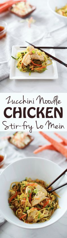 Zucchini Noodle (Zoodle Chicken Lo Mein by Flirting with Flavor!!!! Delicious and easy recipe that's ready in 20 minutes! Yum!!!