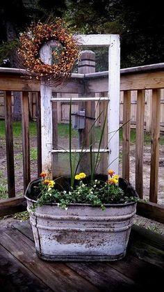 Wash Tub Turned Corner Deck Planter