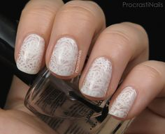 ProcrastiNails: Milky White Lace Stamping Nail Art with the MoYou London Bridal 07 XL Plate