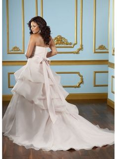 Julietta by Mori Lee Style 3115 Organza with jeweled sash Plus Size Wedding Dresses - US$298.00 - english