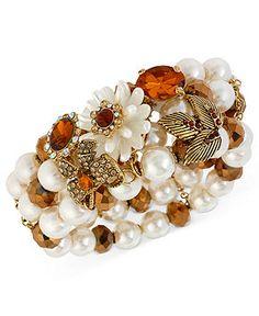 Betsey Johnson Bracelet, Antique Gold-Tone Imitation Pearl and Topaz Crystal Stretch Bracelet - Fashion Jewelry - Jewelry & Watches - Macy's