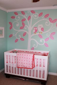 I love this owl decor and its pink too!! Great nursery idea for a girl or boy, just change to blue.