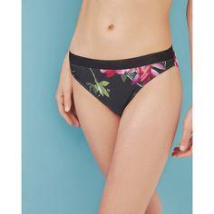Ted Baker Citrus Bloom bikini bottoms (£49) ❤ liked on Polyvore featuring swimwear, bikinis, bikini bottoms, black, floral-print bikinis, bikini bottom swimwear, ted baker, swim bikini bottoms and floral two piece