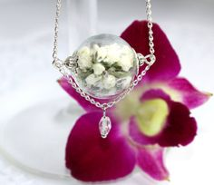 Hand-made white green jewelry made of real by SweetyLifeShop