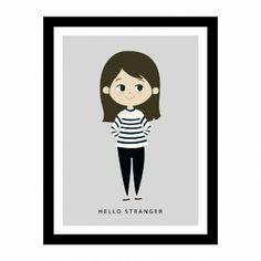 Ilustração da menina em um quadro