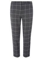 Womens Grey Checked Slim Leg Ankle Grazer Trousers- Grey/Pink