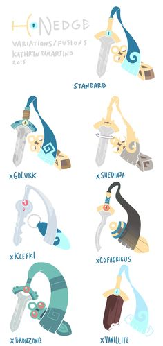 Honedge Variations/FusionsSo Honedge is one of my favorites because he's A BIG BEAUTIFUL SWORD THAT SUCKS OUT YOUR SOUL WITH ITS HANDWRAP <3I really enjoyed the xCofagrigus and xGolurk swords. xCofagrigus is a khopesh, and xGolurk is like Damascan steel. My favorite sheathes are xBronzong and the Standard. Do you know how hard it is to draw Honedge + sheathe so they match up because I do.These ended up a lot more like fusions in the end, but that's fine. I made a separate image of just th...
