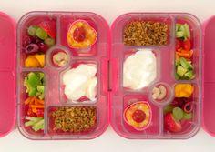05062014 - peach, cherries, grapes, strawberries, mini frittata w/ ketchup, yoghurt, pumpkin granola, cucumber, cherry tomatoes, carrot sticks, avocado, cashew nuts