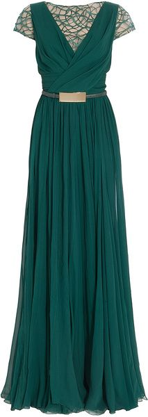 Elie Saab - Cap Sleeves Lace Detail Gown. $6,300. http://www.lyst.com/clothing/elie-saab-cap-sleeves-lace-detail-gown-emerald/
