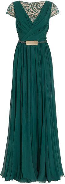 ELIE SAAB Cap Sleeves Lace Detail Gown