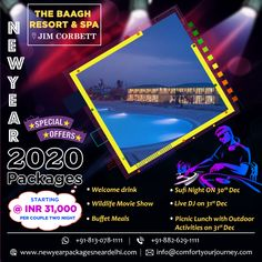 We offer New Year packages in Jimcorbett with vast proposals Dance, DJ, Overnight party, Buffet food, unlimited drinks that opens from night till morning invites you to go with a bang availing the upcoming New Year 2020. Know more in detail visit our website or call us at 8826291111 / 8130781111